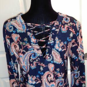JTB Tops - JTB Women's Blue Paisley Knit Bell Sleeve Top